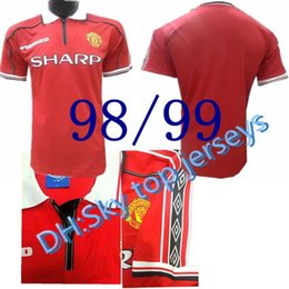 Wholesale United Shipping - top quality 1998-1999 man United Retro Home away 98-99 Giggs, Scholes, Beckham, Neville soccer jersey best quality shirt Free shipping