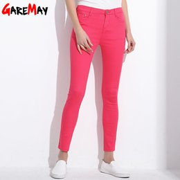 Wholesale White Trousers Women - GAREMAY Women's Candy Pants Pencil Trousers 2017 Spring Fall Khaki Stretch Pants For Women Slim Ladies Jean Trousers Female 1010