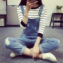 Wholesale Women Jeans Holes Cheap - Wholesale- 2016 Fashion Korean New Women Jumpsuit Denim Overalls Casual Skinny Girls Pants Jeans Cheap Girls overalls Pants