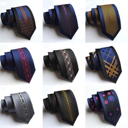 Wholesale Blue Sky Bar - Noble Slim Men Necktie Fashion Designer 6 cm Magnificent Silk Handmade Wedding Night Bar Party Ties Skinny Mens Neck Ties Stripes Plaid Dots