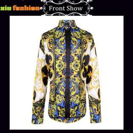 Wholesale Retro Fancy Dress - Wholesale- Men's Flower Shirt Retro Male Floral Print Long Sleeved Dress Shirts Luxury Men Casual Regular Fit Royal Baroque Fancy Shirts