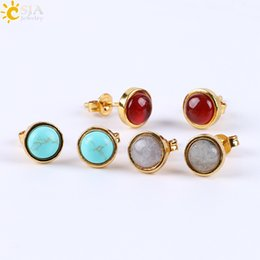 Wholesale Turquoise Earrings For Women - CSJA 2017 Factory Direct Sale Gold Bezel Setting Natural Gemstone Bead Small Stud Earrings for Women Piercing Jewelry with Earring Back E596