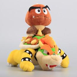"Wholesale pc games children - 2 Pcs Lot Super Mario Plush Toys 10"" Koopa Bowser Dragon & Mushroom Goomba 14 cm Stuffed Dolls Children Toys"