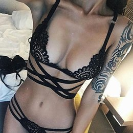 Wholesale Underwear Pretty - 2017 Pretty Sexy Women Embroidery Bra Hollow Out See Though Lace Bra and Panties Sets Sexy Lingerie Lace Underwear
