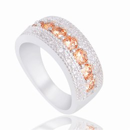 Wholesale wedding jewelry champagne color - Wholesale- H:HYDE 1 pc silver Color Ring Champagne Cubic Zirconia CZ Stone Jewelry For Wedding party finger rings Size 6-7-8-9