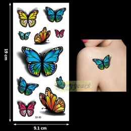 2019 на водной основе Wholesale-New 1PC Fashion Women Men Waterproof Temporary Tattoo Removable Simulation Vivid Body Art 3D-30 Fluorescent Blue Red Butterfly