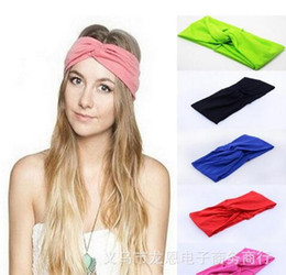 Wholesale Stretch Twist Headband - 19 Colors Women headbands Stretch Twist Headband Turban Sport Yoga Head Wrap Bandana Headwear 2017 Hot Hair Accessories Free Shipping