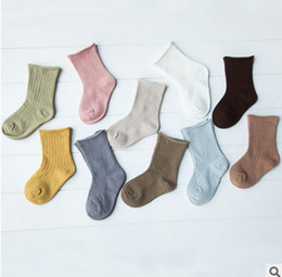 Wholesale Shorts Boy Candy - Baby socks girls candy color short sock fashion 2017 new children cotton stripe princess short sock socks baby boy girl spring socks T3259