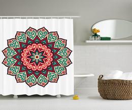 Gros-WARM TOUR Mandala Rideau de douche Tissu de polyester Rideau de douche Ensemble de crochets, Beige vert rouge72''X72 '' ? partir de fabricateur