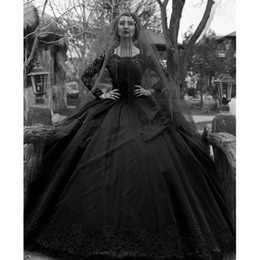 Wholesale Gothic Dresses Red - 2017 Ball Gown Black Gothic Wedding Dresses Black Lace Wedding Gown with Long Sleeves Lace Appliques and Beads