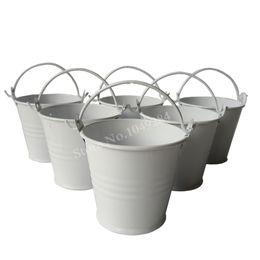 Baldes de estanho brancos on-line-Frete grátis branco pequeno brinquedo balde pote de ovos de páscoa barato baldes de lata, mini baldes, balde balde balde de metal / pacote / para a decoração do casamento