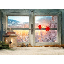 Wholesale Outside Window - Frozen Wooden Window Backdrop for Photography Red Stars Outside Winter Scenery Vintage Lantern Snow Covered Floor Bokeh Photo Background