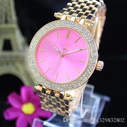 Wholesale Metal American - Hot high quality american brand pink dress diamond color dials swiss replicas women watches alloy metal rose gold bracelet Girl for gifts