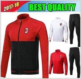 Wholesale Kaka Milan - Top Quality 17 18 AC Milan survetement jacket Training suit kits soccer Jersey Top quality tracksuits BACCA KAKA L.ADRIANO football shirts