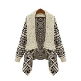Wholesale Geometric Shawl Cardigan - Women Cardigan Sweater Autumn Vintage Geometric Pattern Loose Overwear Coat Oversized Knitted Poncho Capes Shawl Shrug Capes FS1946