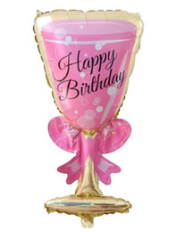 Wholesale New Years Celebration - Champagne Wine Cup Aluminum Foil Balloons Happy Birthday Party Decoration Wedding New Year Celebration Atmosphere props decor pink