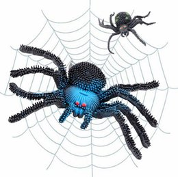 Juguetes terroristas online-Fake Spider Halloween Party Decoration Casa embrujada Prop Indoor Outdoor Decor Props Terrorista Animal Truco Juguetes Caucho regalo
