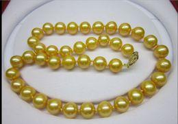 Wholesale Huge Golden South Sea Pearls - 18 INCH HUGE 10-11MM NATURAL SOUTH SEA GENUINE GOLDEN PEARL NECKLACE 14K