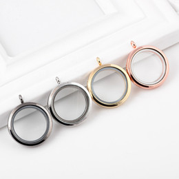 Wholesale Transparent Crystal Jewelry Box Wholesale - Valentine's Gift magnetic floating charm locket DIY Jewelry transparent glass Frame Box floating charm lockets pendants Jewelry Necklace