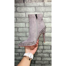 Wholesale Cowboy High Heels - Paris Women Boots Fashion Winter Boots Shoes Suede Rivet High-heeled Pumps Grey Luxurious Brand Zipper Boots With Zip Fastener ZIPPER