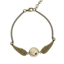 Wholesale Harry Potter Snitch Bracelet - Hot Movie Jewelry Harry Snitch Wings Bracelet Potter Wing With Bead Bracelets Bronze Silver Plated Alloy Bracelet Factory Outlet Wholesale