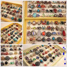 Wholesale Women Black Stone Ring - Boho Vintage Punk Silver Color Stone Midi Finger Rings For Women  Men Bohemian Ring Jewelry Anillos