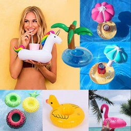 Wholesale Wholesale Fruit Cups - PVC Inflatable Drink Cup Holder 12 Styles Unicorn Flamingo Donut Duck Mushroom Fruit Beverage Holders Floating Pool Beach Stand OOA2086