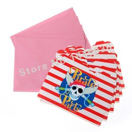 Wholesale Wholesale Pirate Party Supplies - Wholesale- 6pcs Envelop Shape Pirate Party Theme Party Invitation Card Kids Baby Birthday Festival Party Card Decoration Supplies