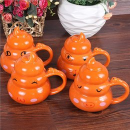 Wholesale Starbucks Ceramic Coffee Cups - Ceramic Coffee Mugs Cups Funny Emoji Smiley Poop Emoticons Mug Set Starbucks Porcelain with Lid For Home Office Gift Microwave Safe F2017116