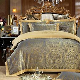 juegos de fundas de edredón bordadas Rebajas Al por mayor-SunnyRain 4-Piezas Jaquard juego de cama de lujo Queen King Size Bed Set Funda de almohada cubierta de edredón nórdica hoja de almohada