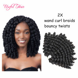Wholesale Afro Braiding - Crochet Braids Hair 8inch Bounce Jamaican Afro Fluffy Jumpy Wand Curls Kanekalon twist Ombre Jumpy Wand Curl soft crochet hair extensions