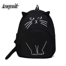 Wholesale Bookbags Women - Wholesale- AEQUEEN Lovely Cat Printing Backpack Women Canvas Backpack School Bags For Teenagers Ladies Casual Cute Rucksack Bookbags