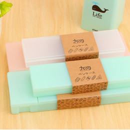 Wholesale Kids Plastic Pencil Boxes - Wholesale-Cute Kawaii Transparent PP Plastic Pencil Case Lovely Pen Box For Kids Gift Office School Supplies Materials Free Shipping