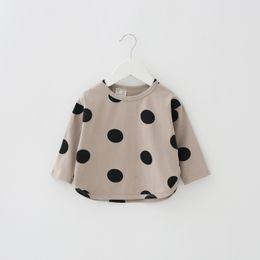 Wholesale Dot Girl T Shirt - Baby girls cotton linen T-shirt kids cute polka dots printed princess tops children bat sleeve pullover baby autumn cotton clothing T4882