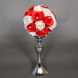 Wholesale Wedding Flower Table Stands - Free shipping Wedding Candle Holder Romantic Standing Wedding Candlestick Wedding Flower Stands Silver Candelabra hot sale