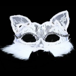 Wholesale white cat halloween costume - High Quality Black mask Lace CAT masque dentelle Mask 30pcs Lot Fancy Dress Costume Sexy Lady Party Mask IC623