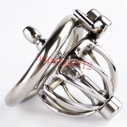 Wholesale Penis Shaped - New Lock super Small Male Chastity Device Stainless Steel Chastity Cage urethral sounds Arc-Shaped Cock Ring Penis Ring Sex Toys Men