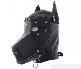 Wholesale Dog Mask Sex - Sex Fetish role play Dog slave head Hood hoods Head bondage fully enclosed fun headgear masks sex game BDSM game for couples