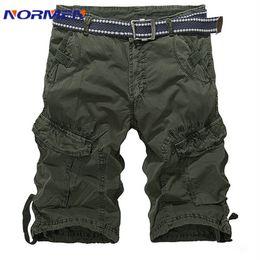 Wholesale Combat Cargo Shorts - Wholesale-Men's Army Green Casual Cargo Pants Cotton Breathable Print Pocket Shors Solid Short 29-42 Plus Size Combat Knee Length