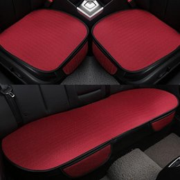 Wholesale Chair Cushion Seat Pad - NEW Car front back Seat Covers breathable ice silk Universal Fit SUV sedans Chair Pad Cushion antiskid