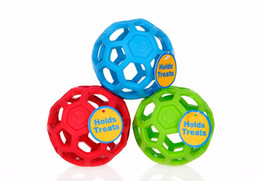 Wholesale Food Drain - Size M, L Cheap Drain Food Ball Dog Toy Natural Non-Toxic Rubber Teddy Golden Dog Geometric Toy Ball Bite-Resistant Teeth 3Colors