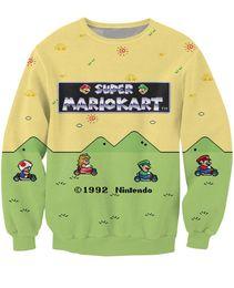 Wholesale Princess Sweatshirts - Super Mario Kart Crewneck Sweatshirt the adorable Toad Princess Peach Luigi Character Sweats Women Men 3D Print Hoodies Jumper
