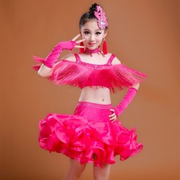 Wholesale Latin Dance Outfits - Latin Dance Outfits 6Pcs(Dress+Headwear+HandSleeve+Earring+Collar+Short) kids Girl Child 3Colors Tassel&Rhinestone&Organza Skirt DQ2017