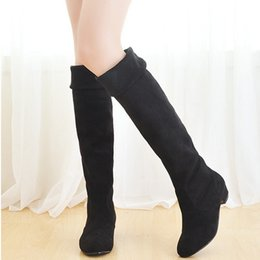 Wholesale Thigh High Wedges Boots - Wholesale-Hot! 2016 New Fashion Women Thigh High Boots Spring Autumn Ladies Over The Knee Boots Ladies Wedge Mid Heel Casual Women Shoes
