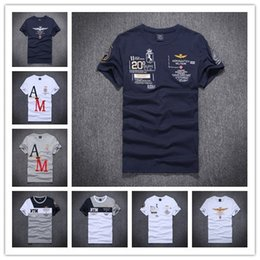 Wholesale Shirt Cotton One Color - 2017 Summer Brand New Mens T-shirts High Quality 100% Cotton AERONAUTICA Militare Polo shirts Air Force One Italy tommy Shirts Tops M-2XL