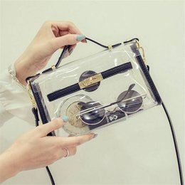 Wholesale Designed Bags For Woman - Wholesale-New design transparent bag transverse clear platinum package summer beach bag small tote shoulder bag crossbody bags for women