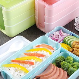 Wholesale Microwave Oven Heating - Three Layers Lunch Box Multi Function Microwave Oven Heating Bento Case Aquare Plastic Environmental Protection Hot Sell 10jh E1