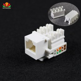 Wholesale Rj45 Cat5e Jack - Wholesale- 10pcs CAT5E UTP network module Tool-free RJ45 connector Information socket Computer Outlet cable adapter Keystone Jack FOR AMP