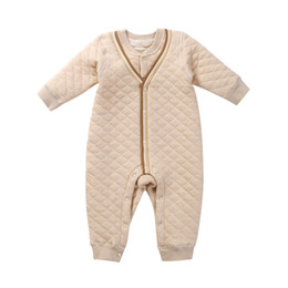 Wholesale Kids Girls Clothes Winter - 2017 new arrival kids clothing winter cotton wool men's color cotton long-sleeved climbing single-breasted baby conjoined jumpsuit