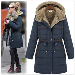 Wholesale Slim Large Lapel Coat - 2016 New Winter Coat and Slim Female Fat Thickened Long Mianfu Large Size Women Cotton Padded Jacket